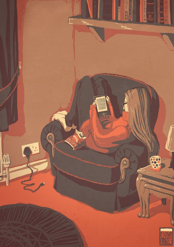 Digital reading / Lectura digital (ilustración de Fiona Creates) #biblioteques_UVEG: