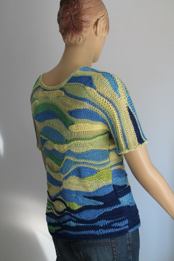 Knitting Wearable Art : Unique hand knit sweater top freeform knitting