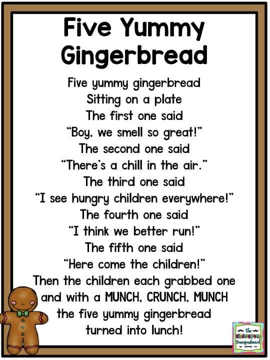 Gingerbread Man Poem Kindergarten Poems Gingerbread Activities
