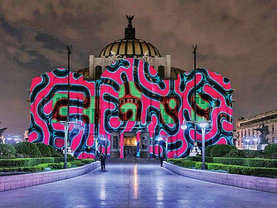 Filux el origen del mundo ilumina Bellas Artes Architecture