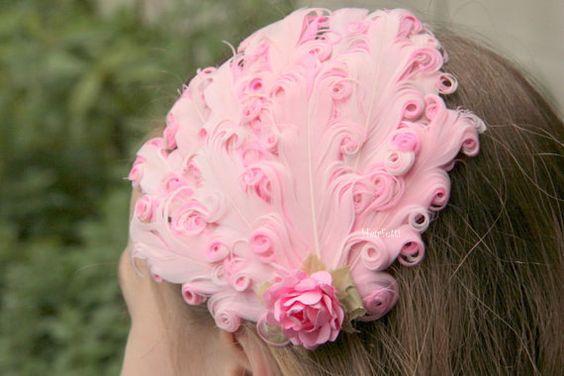 Rosa und Rot Rosa Haarspange fächerförmige Rosa von Hairfetti