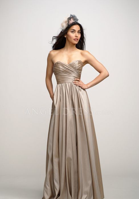 A line Taffeta Sweetheart Floor Length Sleeveless With Ruching Bridesmaid Gown