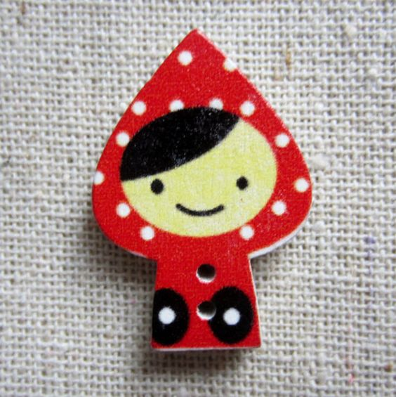 """Red Riding Hood Buttons. 20 Wood Printed Buttons. 2.8cm (1.1"""")Tall.  AUD 2.60 Worldwide Postage!"""