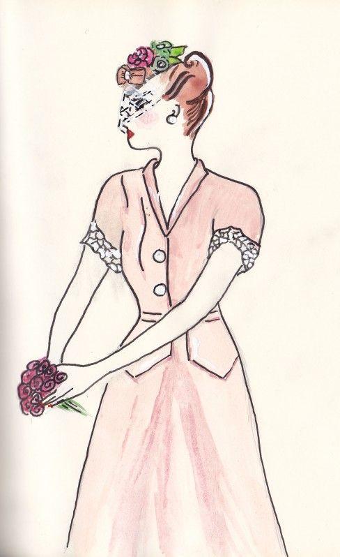 1940s Pale Pink Dress & veiled hat  Spring & the City  www.igetakickoutofyou.me