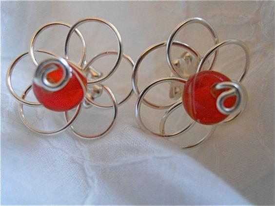 Wired Flower EarringsPretty Beaded Flower with Red by JoJosgems, $14.00