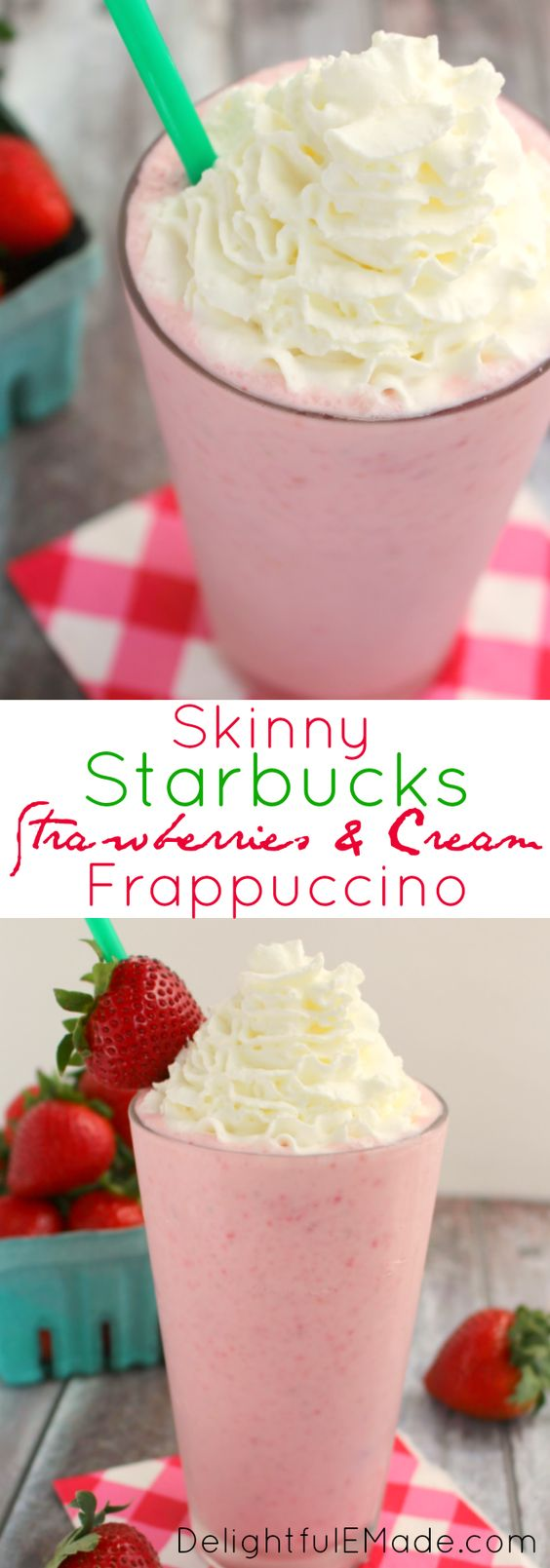 Love Starbucks Strawberries and Cream Frappuccino but don't like all the sugar, fat and calories?  I've got you covered with this delicious, skinny version! Creamy, full of fresh strawberry flavor and under 200 calories!