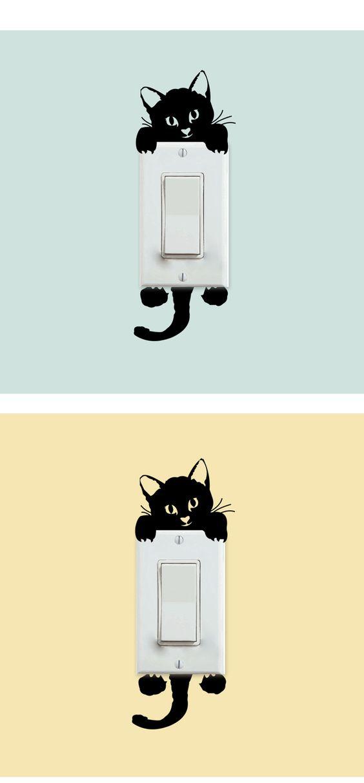 Diy engraçado bonito interruptor gato adesivos de parede adesivos decoração da casa quarto Parlor decoração em Papéis de parede de Casa & jardim no AliExpress.com | Alibaba Group: