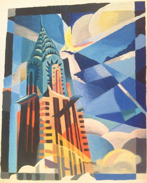 Chrysler building painting art deco art pinterest for Famous art deco art