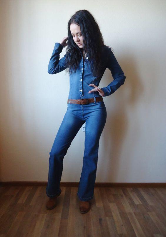 Women Denim Jumpsuit One Piece Romper Pants Blue Jean Fitted Long ...