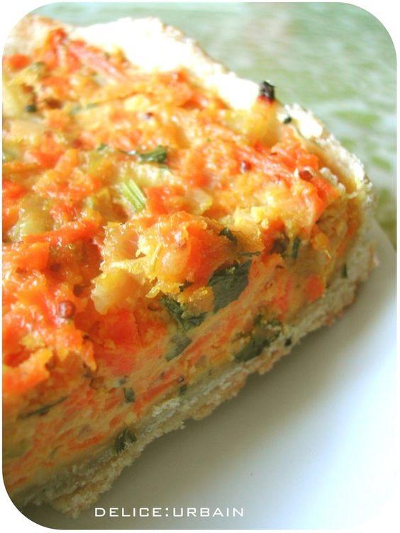 Tarte aux carottes, oignons, et moutarde
