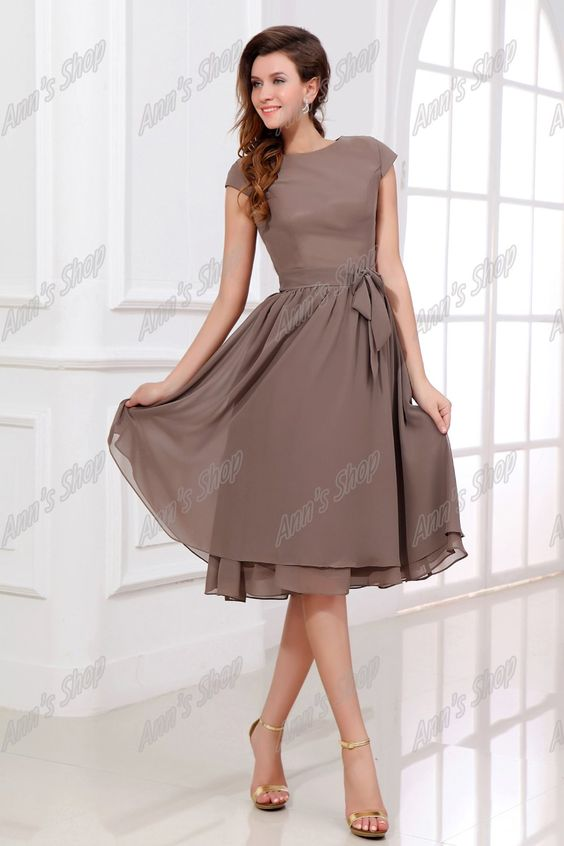 Real Image A line Scoop Short Sleeves Knee Length Chiffon Mother of the Bride Dresses-in Mother of the Bride Dresses from Apparel & Accessories on Aliexpress.com