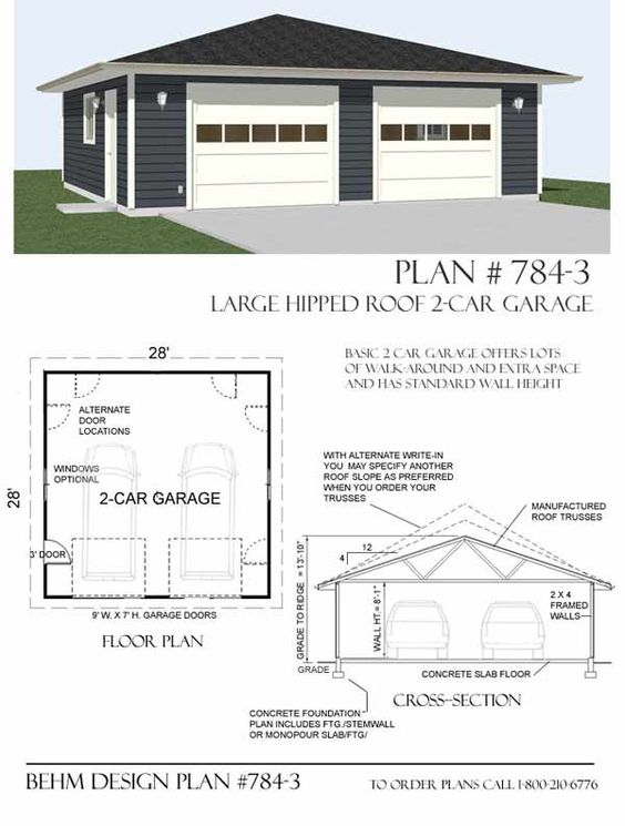Hipped roof oversized two car garage plan 784 1 28 39 x 28 for Garage plans for sale