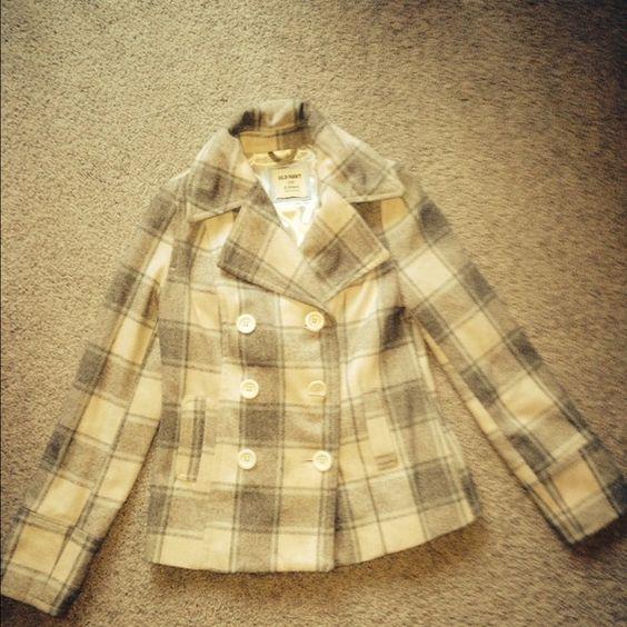 Old navy pea coat! Old Navy pea coat; grey, white, and blue. Old Navy Jackets & Coats