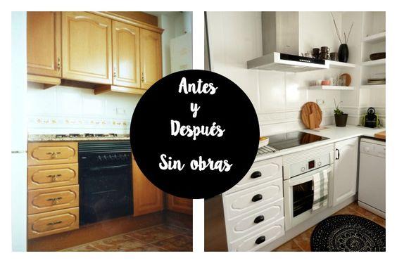 Reforma de mi cocina sin obras pintar y pintura - Pintar muebles de cocina antes y despues ...