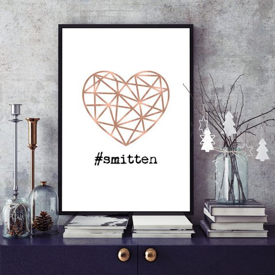 Rose Gold Geometric Abstract Heart  Smitten  by NordicPrintStudio