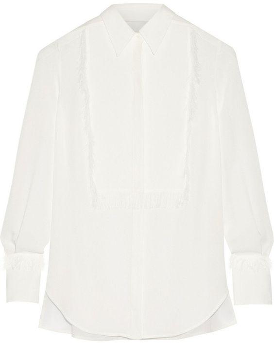Pin for Later: In diesem Frühjahr wird die weiße Bluse vom Büro-Klassiker zum echten Hingucker  3.1 Phillip Lim Hemd aus Seiden-Crêpe mit Fransenverzierung (500 €)