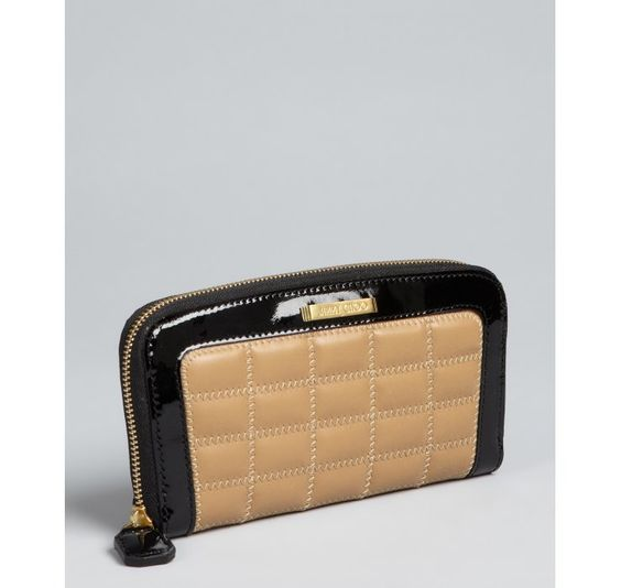 Jimmy Choo Nude Quilted Leather Patent Trim Continental Wallet!