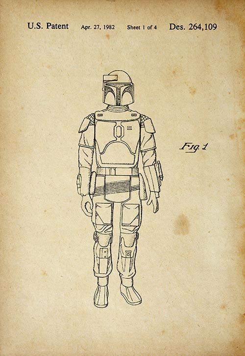 United States Patent Office Print Star Wars Bobba Fett Lucas 1982