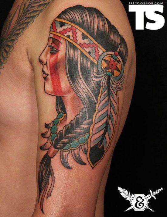 Native american women native american and woman tattoos for Native american woman tattoo