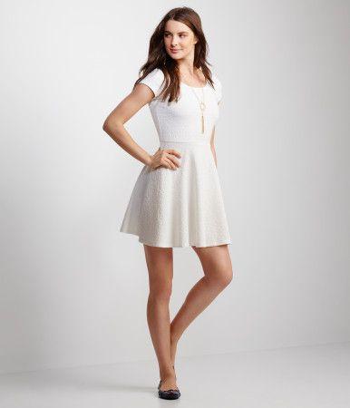 Cap Sleeve Textured Fit & Flare Dress - Cream