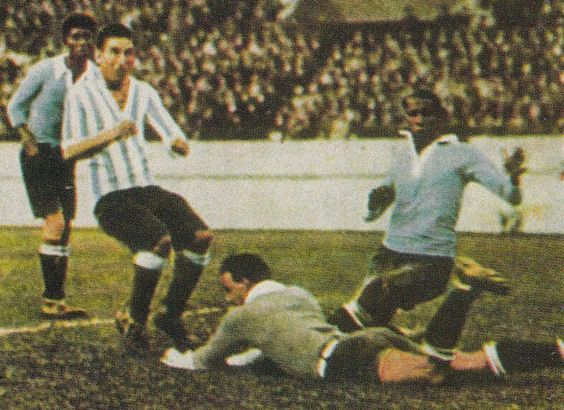 Uruguay 2 Argentina 1 in 1928 in Amsterdam. Uruguay won the Olympic Gold for football, beating Argentina in the final.