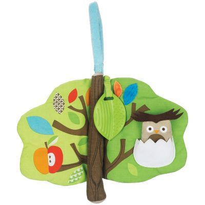 Treetop Friends Soft Activity Book: includes many activities for play at home or on the go. Includes a hide-and-seek pocket owl, peek-a-boo flap, mushroom squeaker, and tuggable teether.
