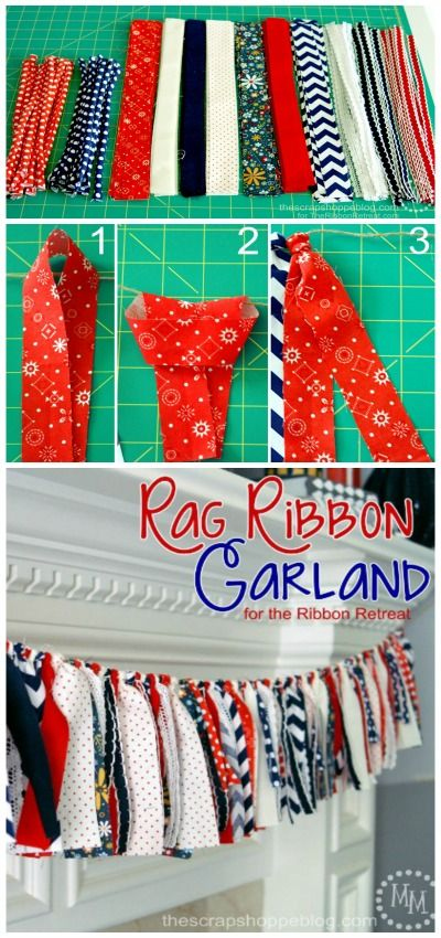 4th of July Rag Ribbon Garland from @Michele {The Scrap Shoppe} for @The Ribbon Retreat - sooooo cute and easy to make!: