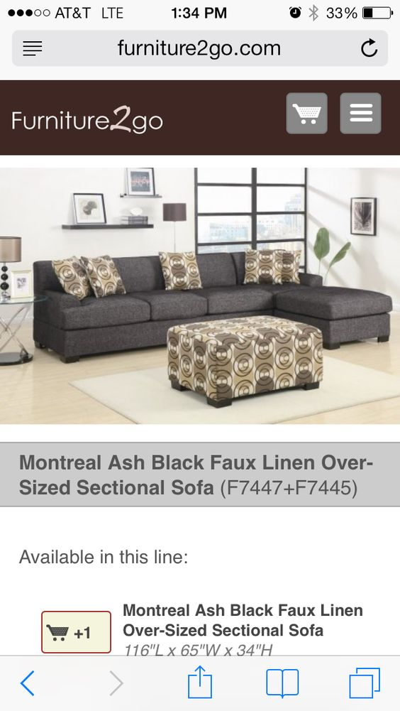 Inexpensive sectional couch ($495!). I'd add expensive looking pillows.