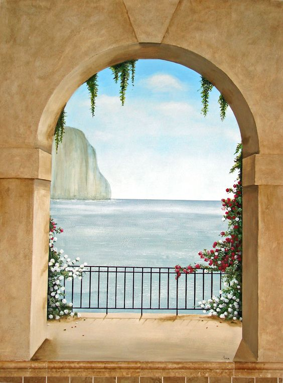 trompe loeil murals trompe l oeil mural island of capri italy trompe l 39 oeil pinterest. Black Bedroom Furniture Sets. Home Design Ideas