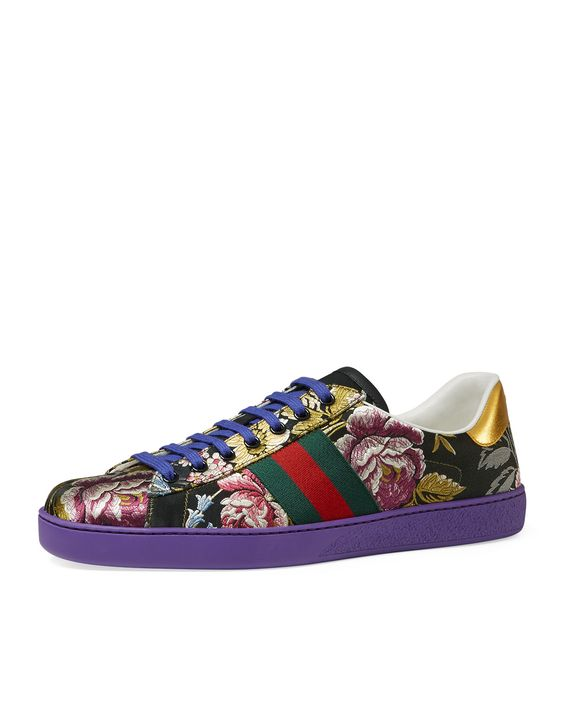 gucci new ace floral jacquard low top sneaker men 39 s size. Black Bedroom Furniture Sets. Home Design Ideas