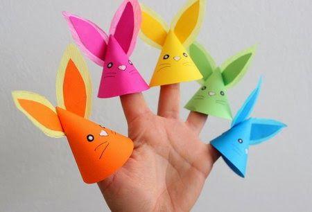 Títeres de dedo con forma de conejitos ~ Portal de Manualidades