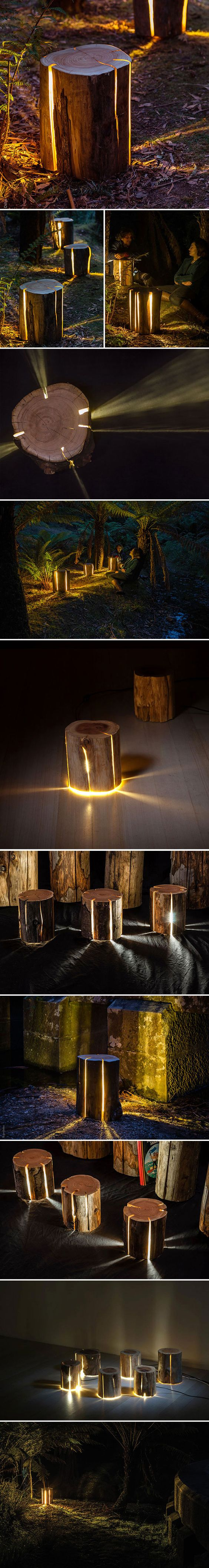 Tasmania-based furniture designer Duncan Meerding loves the outback wilderness, which comes across in his work – his most popular pieces are simple logs whose natural cracks emit soft, warm light. Meerding is also legally blind, so the use of light in his pieces helps him communicate how he sees the world: