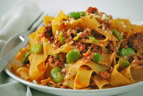 Pappardelle with Italian Sausage and Fava Beans!