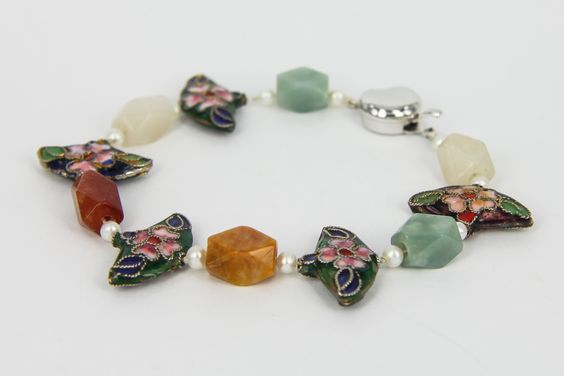 Jade & Pearl Bracelet with Antique Porcelain Beads and a Silver Lock - Jewellery by Gems-B