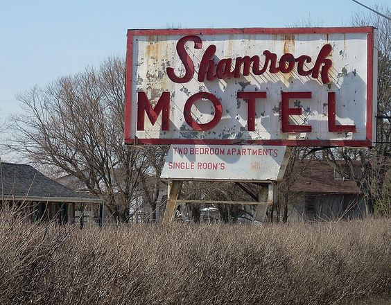 Shamrock Motel Sign Route 40 (National Road) eastern Indiana by whflood, via Flickr