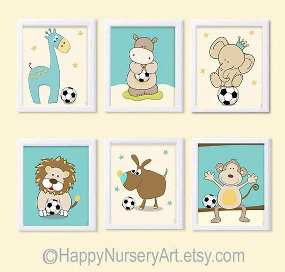 Sports nursery artSet of 6 prints nursery by HappyNurseryArt