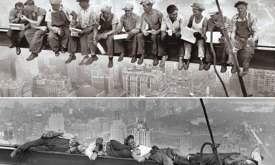 The picture that proves why iconic photograph of workers eating their lunch on Rockefeller beam was all a publicity stunt.