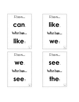 """I have who has for 1st grade """"Treasure"""" Sight Words"""