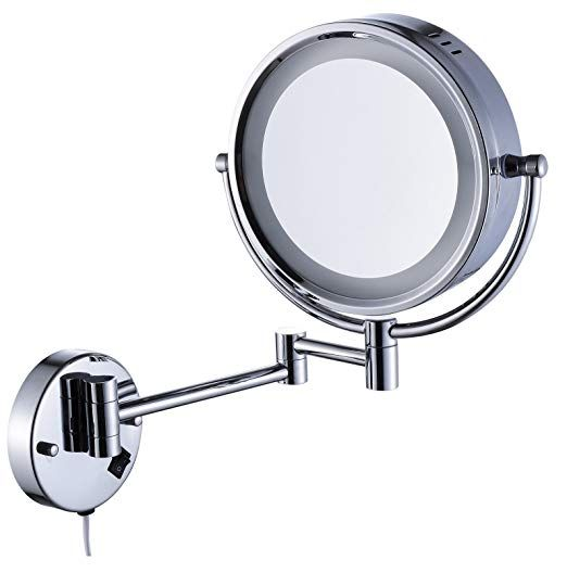 Cavoli Wall Mounted Makeup Mirror With Led Lighted 10x Magnification 8 5 Inches Bathroom And Hotel Ch Mirror With Led Lights Wall Mounted Makeup Mirror Mirror