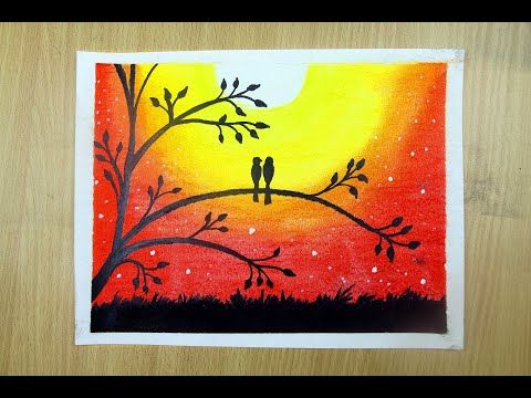 How To Draw Love Bird Sunset Scenery Nature Of Beauty Paint With Dry Pastel Youtube Oil Pastel Drawings Love Birds Painting Colorful Drawings