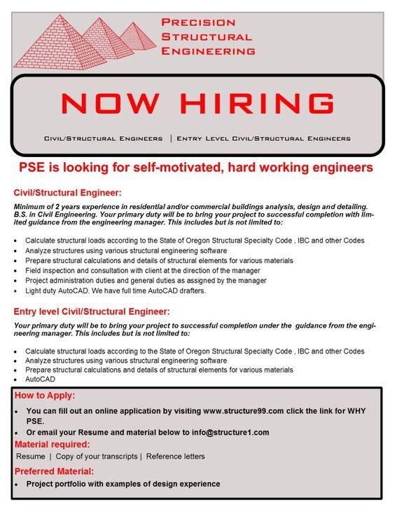 Structural Engineer Resume Engineer Flyer  Employment Opportunities  Pinterest