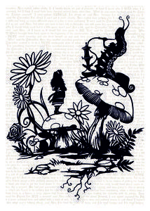 'Alice and the Caterpillar'Chunky Wrapped Canvas ready to hang papercut print A4 £20.00