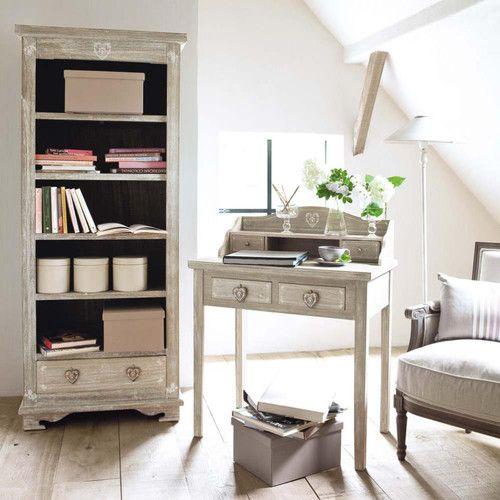 Bibliothèque en bois de paulownia blanchi L 75 cm
