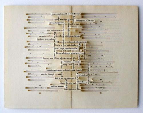 cut pages of a book out to create a different story