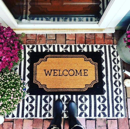 Layering Mats For The Best Curb Appeal Frontporch Layeringmat Fall Frontdoor Homedecor Doormat Rug Ou Front Door Rugs Front Porch Decorating Porch Rug