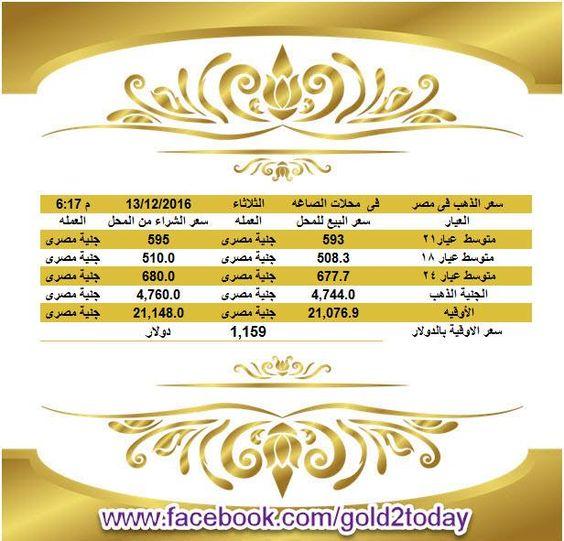 سعر #الذهب اليوم في مصر الثلاثاء 13-12-2016 مقابل #الجنيه المصري بمحلات #الصاغة الساعة 6.15 مساء ------------------------------------ متوسط #عيار_21 = 593 جنية مصرى & 595 جنية مصرى ------------------------------------ http://bit.ly/2dH36ov https://twitter.com/gold2today https://www.youtube.com/c/سعرالذهب1 http://bit.ly/2g3oOr5 ------------------------------------ برجاء كومنت او لايك أو شير ليصلكم منا تحديث الاسعار لحظيا ------------------------------------ #سعر_الذهب_اليوم #سعر_الذهب…