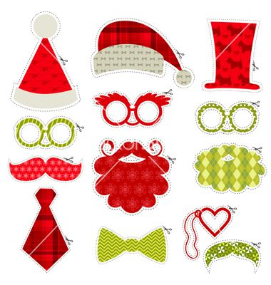 Christmas photobooth party set - glasses hats lips vector - by woodhouse84 on VectorStock®