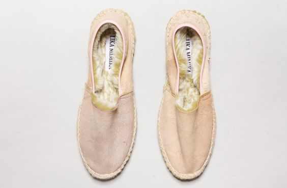 Get on my feet! Fur interior for cozy fit!  Classic Leather Espadrilles by LIKA MIMIKA   RABBIT ROSE