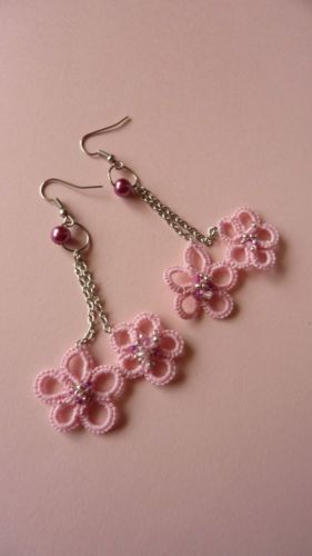 Sakura Cherry blossom earrings, Prom2014 handmade tatted earrings 桜; 櫻; さくら