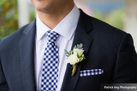 Navy & Blush Wedding.  Grooms boutonniere. Floral design by Nina with By Request.  www.byrequest.us Photo by Patrick Ang